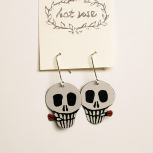 Smoking Skull Earrings / Enameling
