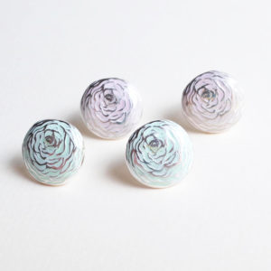 Ranunculus Earrings with enamel