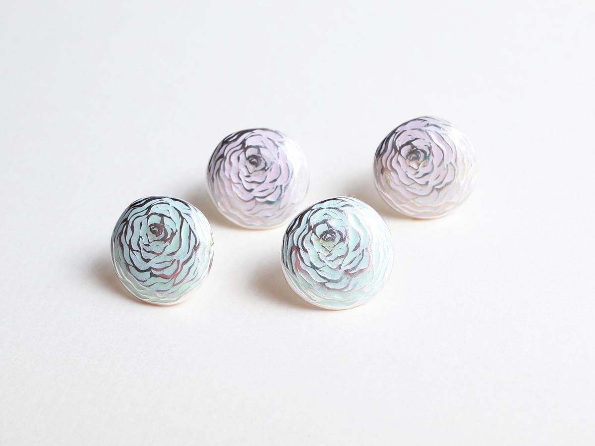 Ranunculus Earrings with enamel